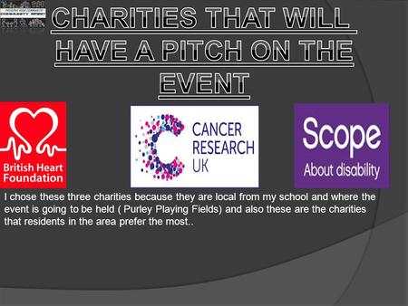 I chose these three charities because they are local from my school and where the event is going to be held ( Purley Playing Fields) and also these are.