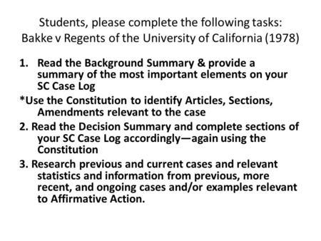 UNIVERSITY OF CALIFORNIA REGENTS v. BAKKE