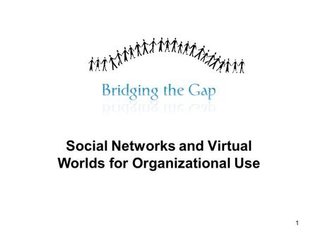 1 Social Networks and Virtual Worlds for Organizational Use.