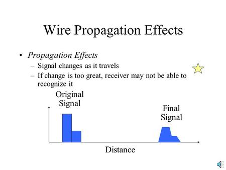 Wire Propagation Effects Propagation Effects –Signal changes as it travels –If change is too great, receiver may not be able to recognize it Distance Original.