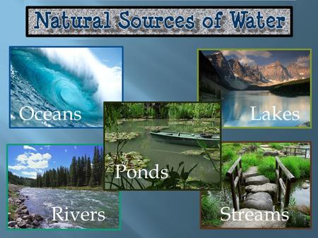 OceansLakes Rivers Ponds Streams.  The Earth produces resources that meet our needs such as soil, wood, and minerals.  Water is another important resource.