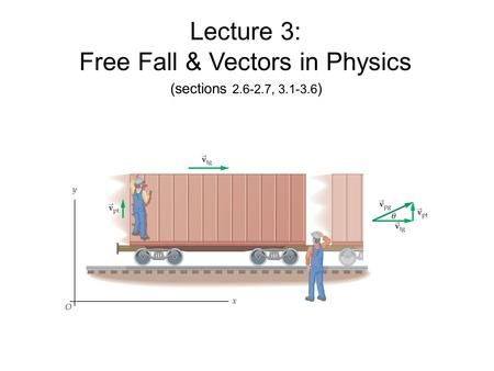 Lecture 3: Free Fall & Vectors in Physics (sections 2.6-2.7, 3.1-3.6 )
