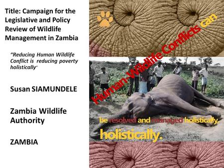"Title: Campaign for the Legislative and Policy Review of Wildlife Management in Zambia ""Reducing Human Wildlife Conflict is reducing poverty holistically."