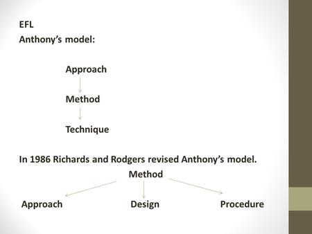 EFL Anthony's model: Approach Method Technique.In 1986 Richards and Rodgers revised Anthony's model Method Approach Design Procedure.