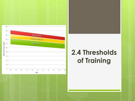 2.4 Thresholds of Training. Last Lesson…. Aerobic respiration = Produces energy using oxygen. Anaerobic respiration = Produces energy without using oxygen.