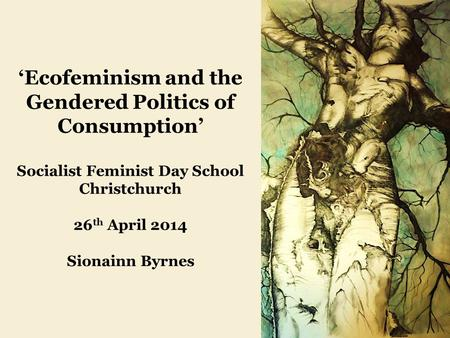 'Ecofeminism and the Gendered Politics of Consumption' Socialist Feminist Day School Christchurch 26 th April 2014 Sionainn Byrnes.