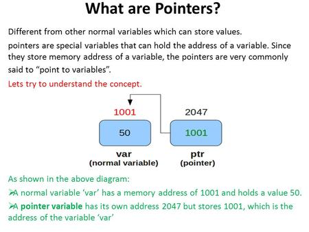 What are Pointers? Different from other normal variables which can store values. pointers are special variables that can hold the address of a variable.