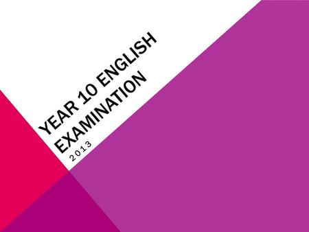 YEAR 10 ENGLISH EXAMINATION 2013. YOUR EXAM IS 2.5 HOURS LONG.