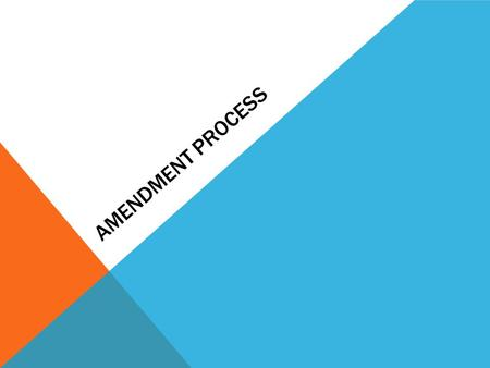 AMENDMENT PROCESS. AMENDING THE CONSTITUTION The Framers of the Constitution knew that that our country would change over time. They knew that there had.