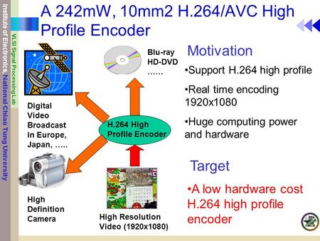 Institute of Electronics, National Chiao Tung University VLSI Signal Processing Lab A 242mW, 10mm2 H.264/AVC High Profile Encoder H.264 High Profile Encoder.