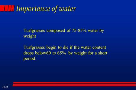 CLM Importance of water Turfgrasses composed of 75-85% water by weight Turfgrasses begin to die if the water content drops below60 to 65% by weight for.