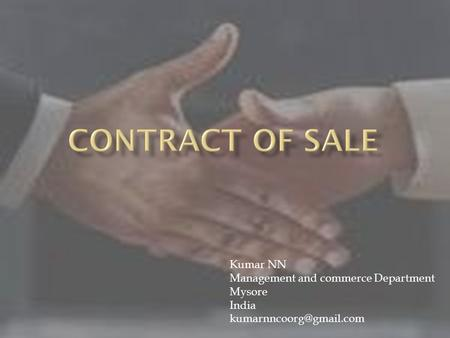 Kumar NN Management and commerce Department Mysore India