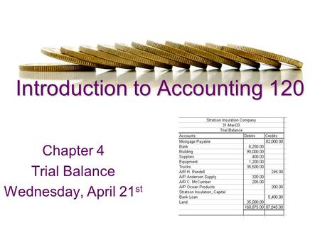 Introduction to Accounting 120 Chapter 4 Trial Balance Wednesday, April 21 st.