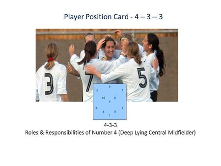 9 11 7 10 8 4 3 2 6 5 1 Player Position Card - 4 – 3 – 3 4-3-3 Roles & Responsibilities of Number 4 (Deep Lying Central Midfielder)