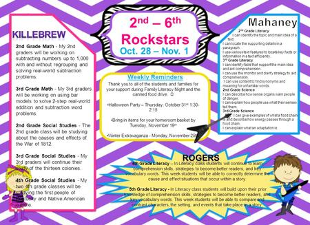 2 nd – 6 th Rockstars Oct. 28 – Nov. 1 Weekly Reminders 4th Grade Literacy – In Literacy class students will continue to learn comprehension skills, strategies.