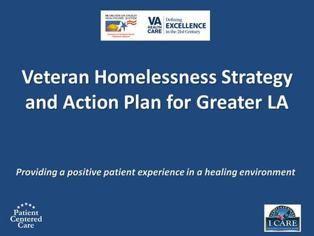 Providing a positive patient experience in a healing environment Veteran Homelessness Strategy and Action Plan for Greater LA Veteran Homelessness Strategy.