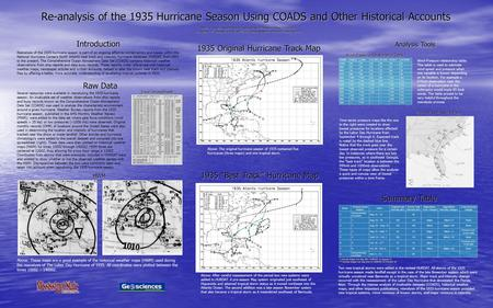 Re-analysis of the 1935 Hurricane Season Using COADS and Other Historical Accounts David A. Glenn, Department of Geosciences, Mississippi State University.