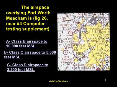 Aviation Seminars 1 #3625. The airspace overlying Fort Worth Meacham is (fig 26, near #4 Computer testing supplement) A- Class B airspace to 10,000 feet.