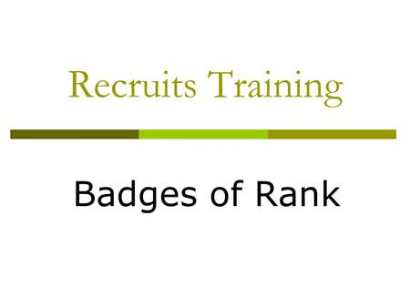 Recruits Training Badges of Rank. Badges of Rank Non Commissioned Officers  Lance Corporal.