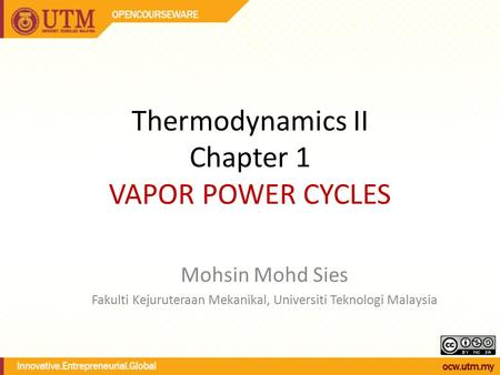 Thermodynamics II Chapter 1 VAPOR POWER CYCLES