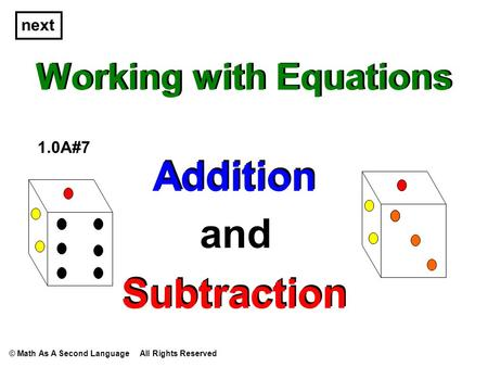 Working with Equations Addition and Subtraction 1.0A#7 Addition Subtraction next © Math As A Second Language All Rights Reserved.