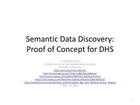 Semantic Data Discovery: Proof of Concept for DHS