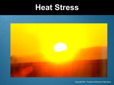 Copyright  Progressive Business Publications Heat Stress.