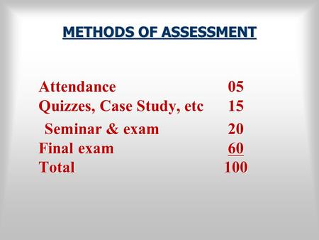 METHODS OF ASSESSMENT Attendance 05 Quizzes, Case Study, etc 15 Seminar & exam 20 Final exam 60 Total 100.