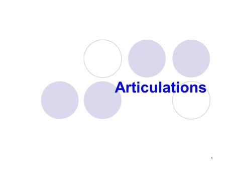 Articulations 1. Functions of articulations Articulations  Where two bones interconnect To hold bones together To allow movements of the body 2.