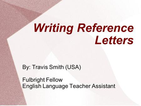 Writing Reference Letters