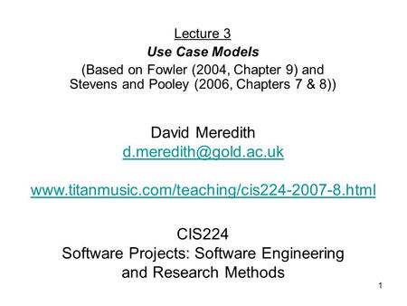 CIS224 Software Projects: Software Engineering and Research Methods