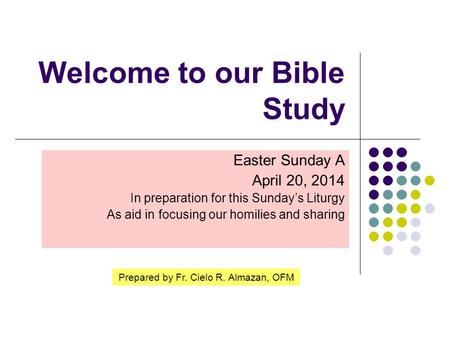 Welcome to our Bible Study Easter Sunday A April 20, 2014 In preparation for this Sunday's Liturgy As aid in focusing our homilies and sharing Prepared.