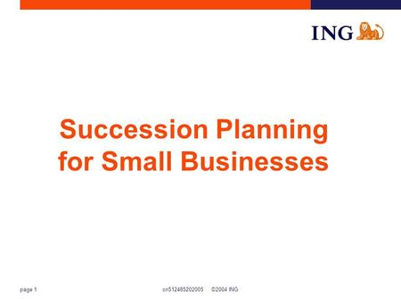 Cn512485202005 ©2004 ING page 1 Succession Planning for Small Businesses.