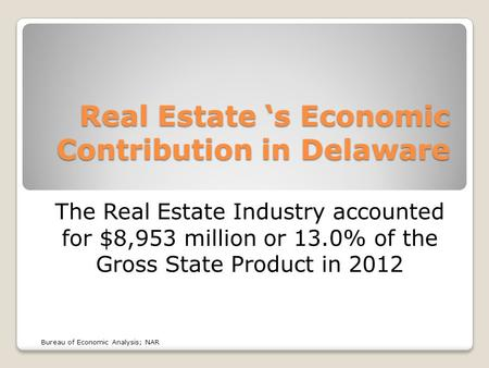 Real Estate 's Economic Contribution in Delaware The Real Estate Industry accounted for $8,953 million or 13.0% of the Gross State Product in 2012 Bureau.