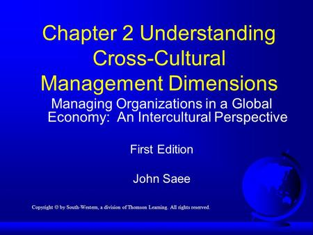 Chapter 2 Understanding Cross-Cultural Management Dimensions