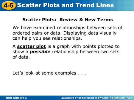 Scatter Plots: Review & New Terms