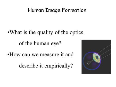 Human Image Formation What is the quality of the optics of the human eye? How can we measure it and describe it empirically?