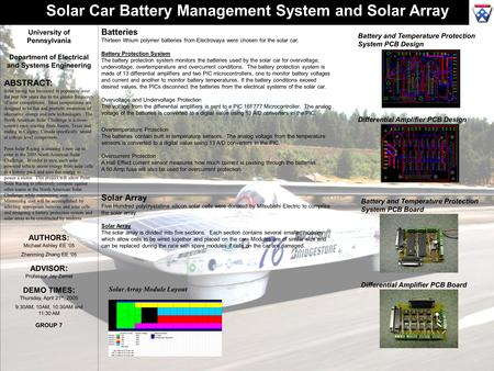 University of Pennsylvania Department of Electrical and Systems Engineering ABSTRACT: Solar racing has increased in popularity over the past few years.