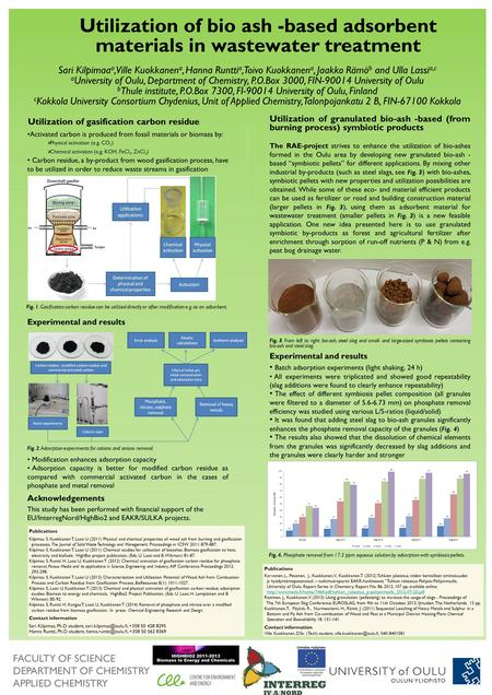 FACULTY OF SCIENCE DEPARTMENT OF CHEMISTRY APPLIED CHEMISTRY Utilization of bio ash -based adsorbent materials in wastewater treatment Sari Kilpimaa a,