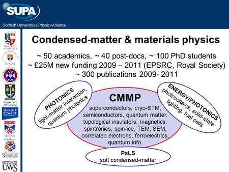 Scottish Universities Physics Alliance Condensed-matter & materials physics superconductors, cryo-STM, semiconductors, quantum matter, topological insulators,