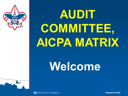 1 Welcome AUDIT COMMITTEE, AICPA MATRIX. Fiduciary Responsibility and Stewardship Fiscal Accountability Legal Responsibility Regulatory Requirements Delegated.