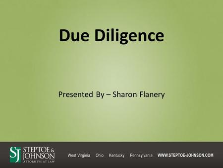 Due Diligence Presented By – Sharon Flanery. Objectives: I.Overview II.Title III.File Review IV.Miscellaneous.
