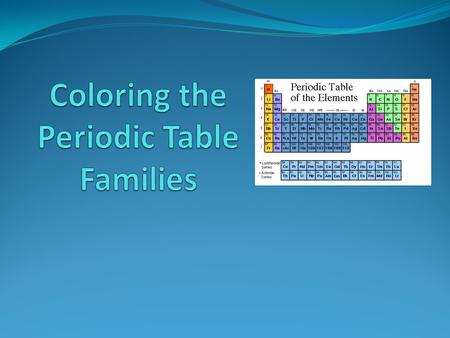 Families on the Periodic Table Elements on the periodic table can be grouped into families bases on their chemical properties. Each family has a specific.