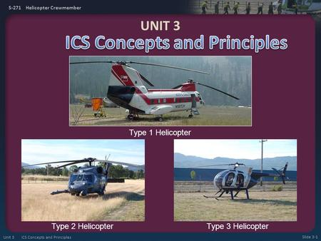 S-271 Helicopter Crewmember Type 1 Helicopter Type 2 HelicopterType 3 Helicopter UNIT 3 Slide 3-1 Unit 3 ICS Concepts and Principles.