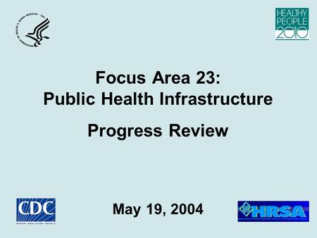 Focus Area 23: Public Health Infrastructure Progress Review May 19, 2004.