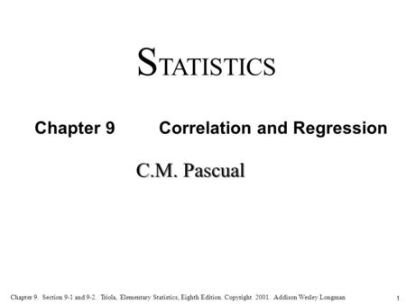 STATISTICS ELEMENTARY C.M. Pascual