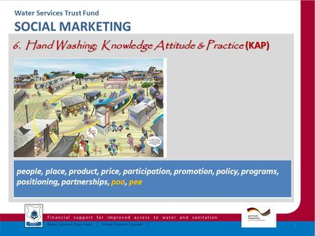 Water Services Trust Fund SOCIAL MARKETING 6. Hand Washing; Knowledge Attitude & Practice (KAP) 1 people, place, product, price, participation, promotion,