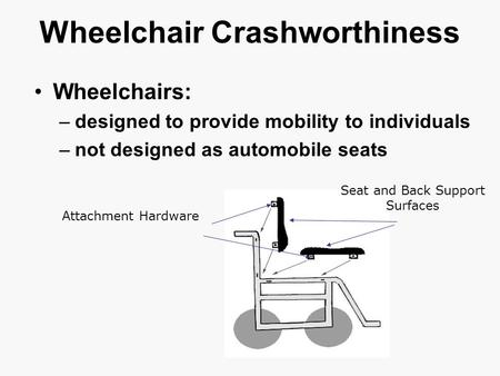 Wheelchair Crashworthiness Wheelchairs: –designed to provide mobility to individuals –not designed as automobile seats Attachment Hardware Seat and Back.