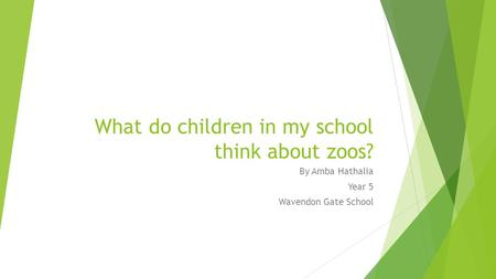 What do children in my school think about zoos? By Amba Hathalia Year 5 Wavendon Gate School.