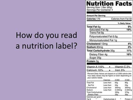 How do you read a nutrition label?